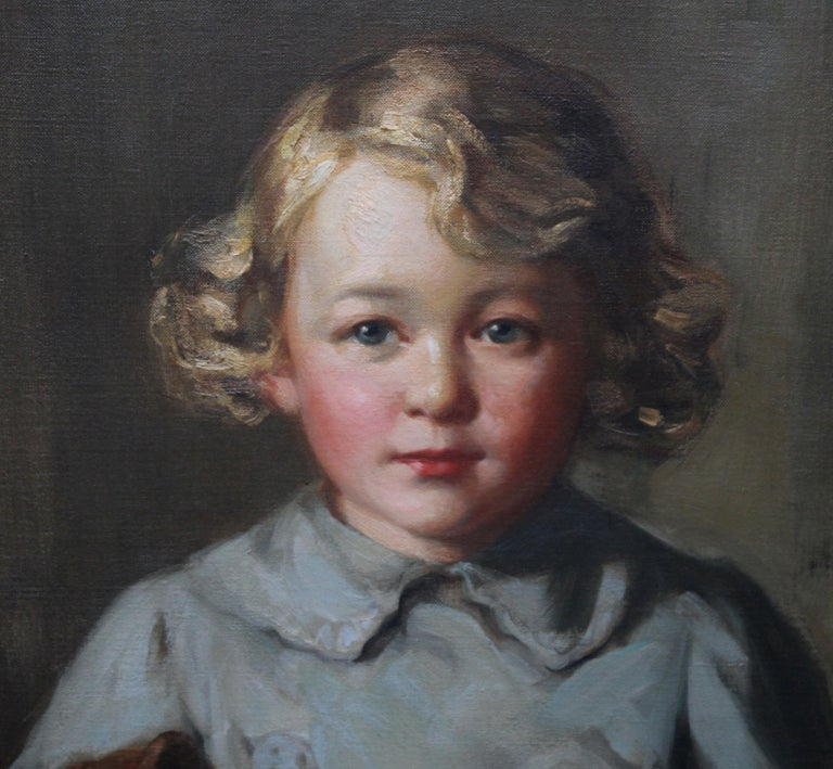 Portrait of a Boy with Teddy Bear - Scottish Art exh. RSA Portrait Oil Ppainting For Sale 5
