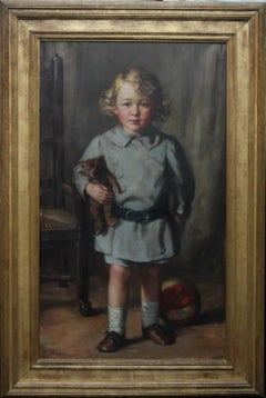 Portrait of a Boy with Teddy Bear - Scottish Art exh. RSA Portrait Oil Ppainting