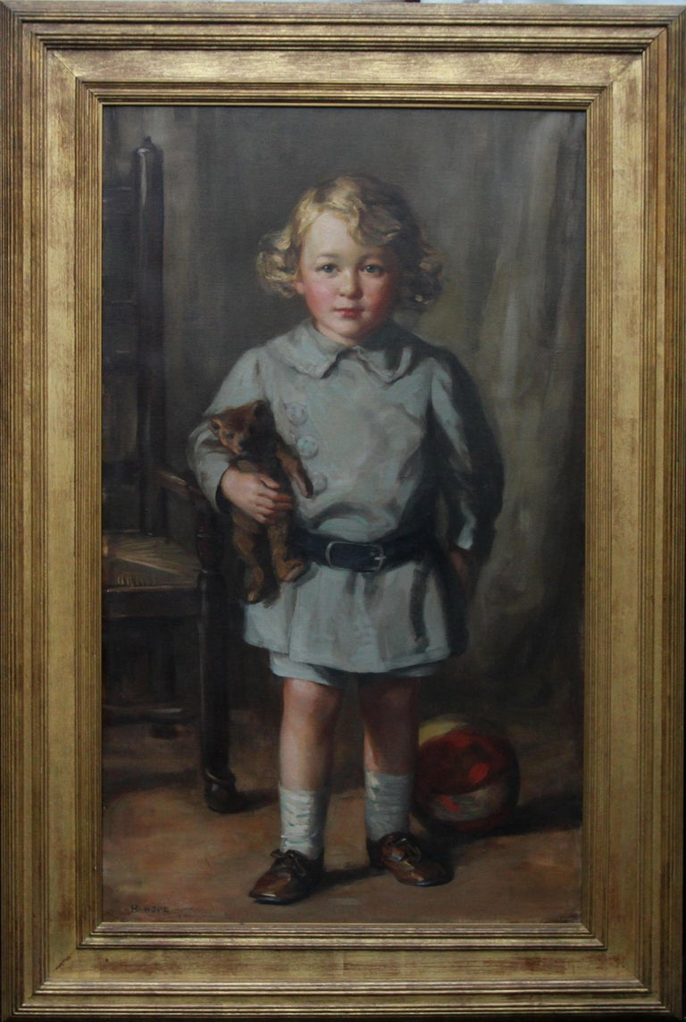 This gorgeous 1920's exhibited portrait oil painting is by noted Scottish artist and prolific exhibitor, Robert Hope. Hope exhibited more than 150 paintings at the Royal Scottish Academy between 1887 and 1937 as well as exhibiting elsewhere. Our