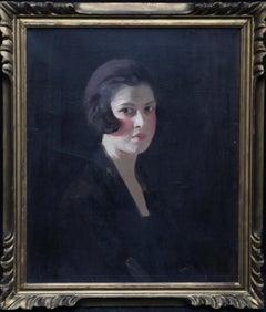 Scottish Art Deco Female Portrait - 1920s art young woman portrait oil painting