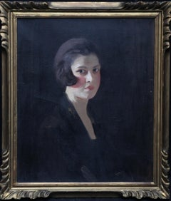 Scottish Art Deco Female Portrait - 1920s art young woman portrait oil painting