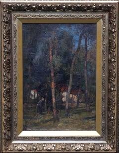 Wood Gatherer East Linton - Scottish 19thC Impressionist Landscape oil painting