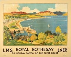 Original Vintage Railway Poster Royal Rothesay Isle Of Bute Clyde Coast Scotland