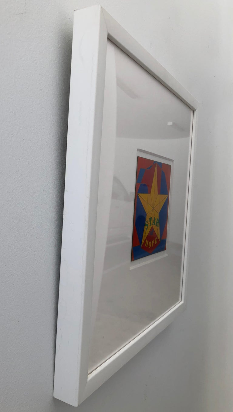 Robert Indiana Enamel on Metal, Star of Hope, 1972 in Red, Blue, Yellow & Green For Sale 12