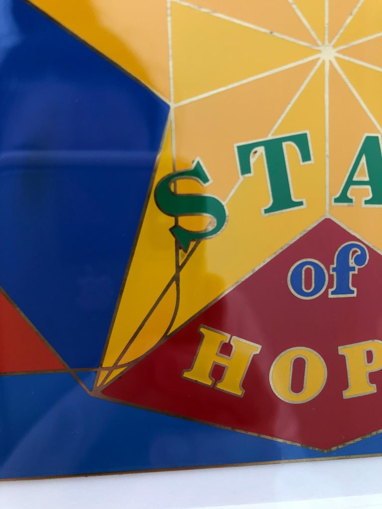 Mid-Century Modern Robert Indiana Enamel on Metal, Star of Hope, 1972 in Red, Blue, Yellow & Green For Sale
