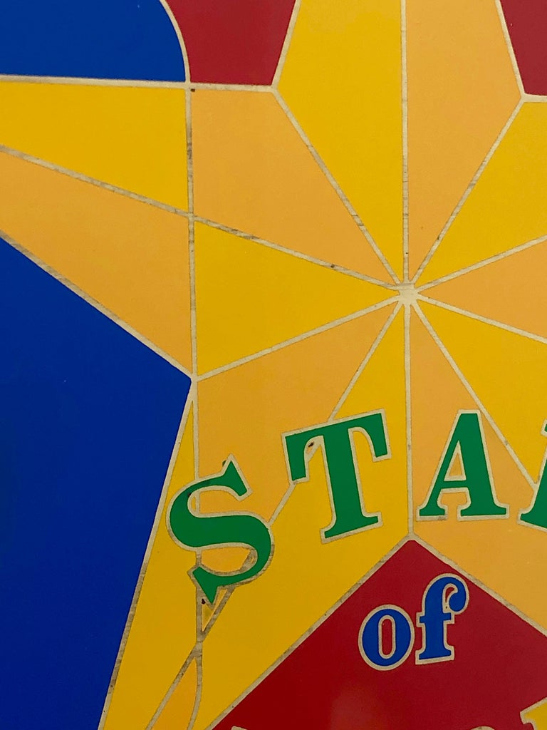 American Robert Indiana Enamel on Metal, Star of Hope, 1972 in Red, Blue, Yellow & Green For Sale