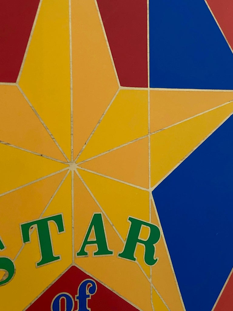 Robert Indiana Enamel on Metal, Star of Hope, 1972 in Red, Blue, Yellow & Green In Good Condition For Sale In Houston, TX