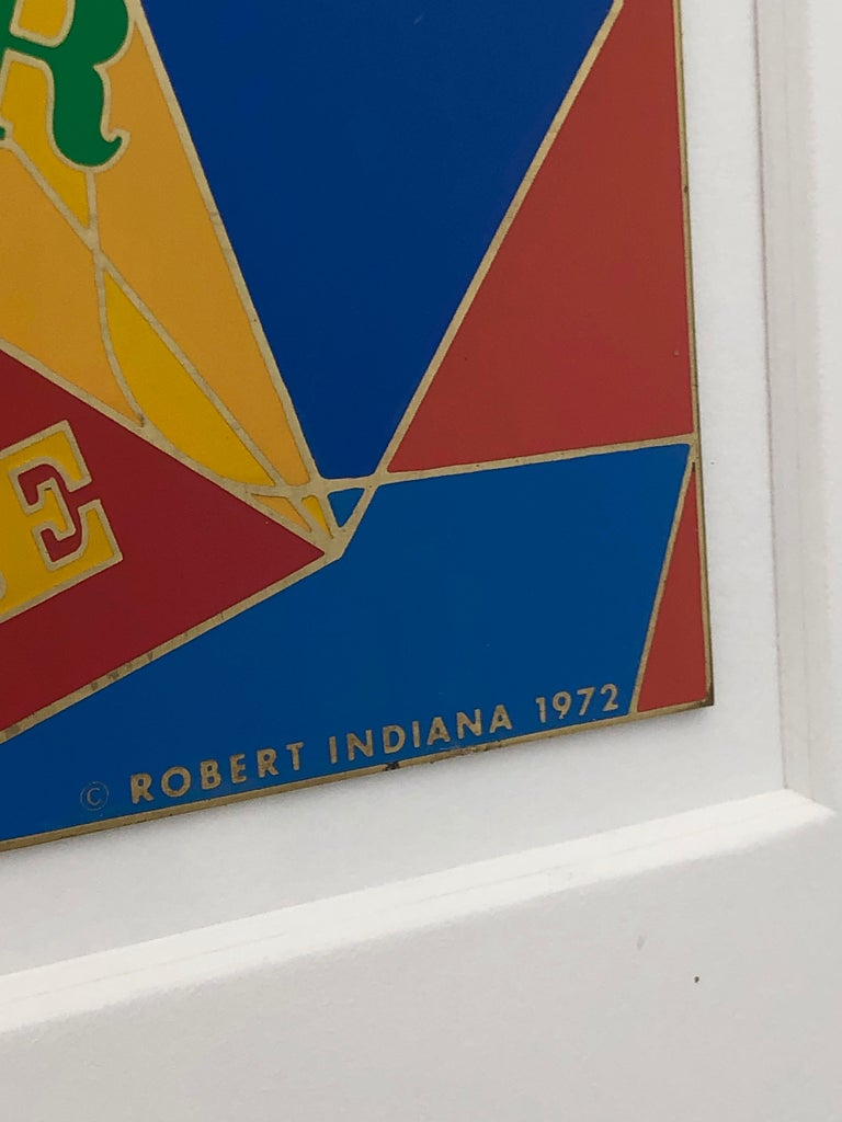 Robert Indiana Enamel on Metal, Star of Hope, 1972 in Red, Blue, Yellow & Green For Sale 11
