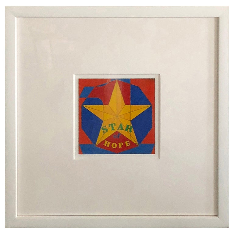 Robert Indiana Enamel on Metal, Star of Hope, 1972 in Red, Blue, Yellow & Green For Sale