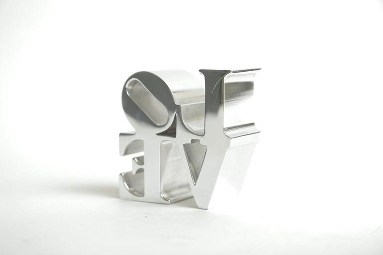 Chrome Robert Indiana Love Paperweight Sculpture Vintage Desk Accessory