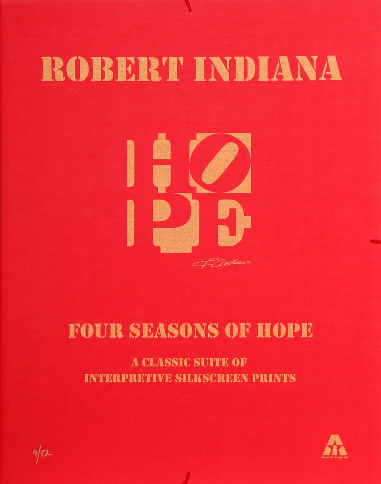 Four Seasons of HOPE (Gold), Suite of Four Silkscreens by Robert Indiana For Sale 1