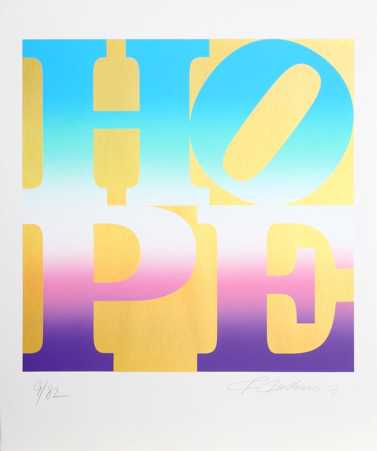 Four Seasons of HOPE (Gold), Suite of Four Silkscreens by Robert Indiana For Sale 2