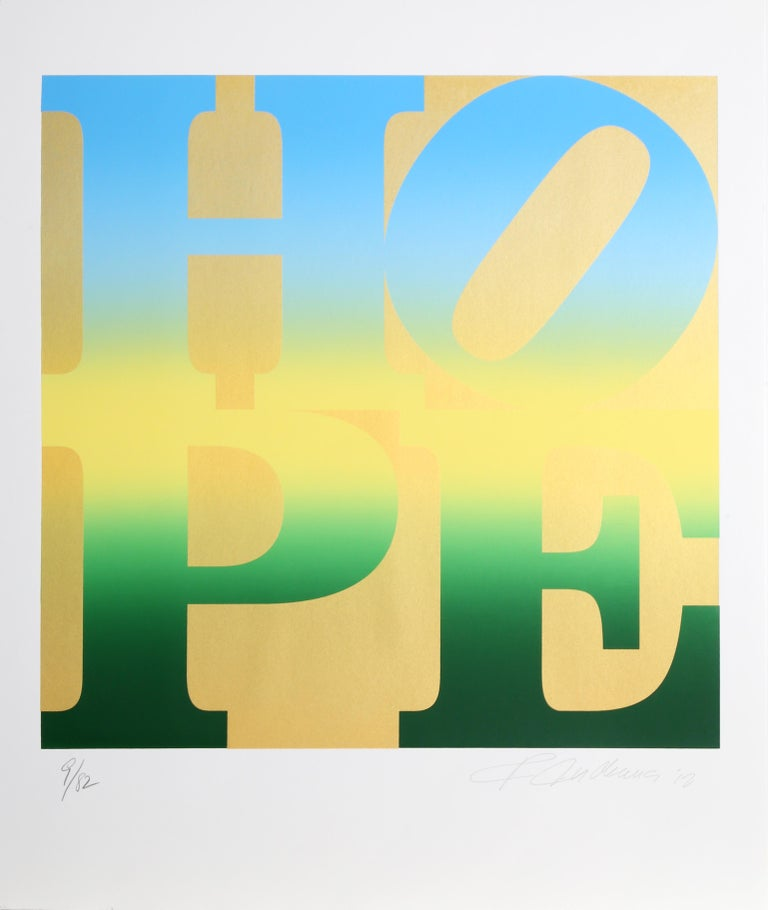 Four Seasons of HOPE (Gold), Suite of Four Silkscreens by Robert Indiana For Sale 3