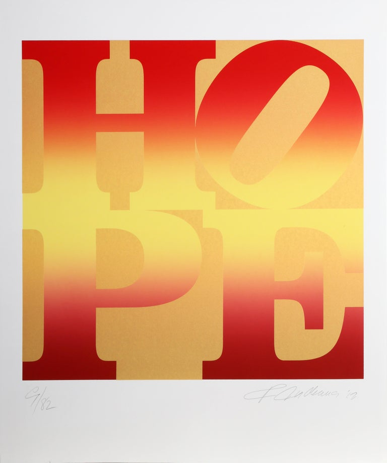 Four Seasons of HOPE (Gold), Suite of Four Silkscreens by Robert Indiana For Sale 5
