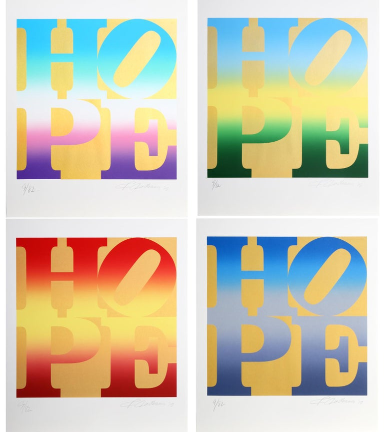 From the artist that gave us LOVE, he now gives us HOPE.  This is the complete suite of four HOPE silkscreens on Gold in original folio. Each print is signed and numbered in pencil.   Artist:Robert Indiana, American (1928 - 2018) Title:Four