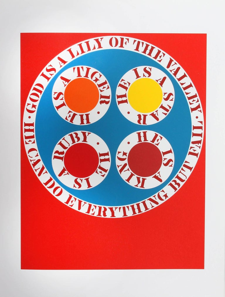 Artist: Robert Indiana, American (1928 - 2018) Title: God is a Lily of the Valley from the American Dream Portfolio Year: 1961-62 (1997) Medium: Serigraph Edition: 395 Image Size: 16.75 x 13.25 inches Size: 22 in. x 17 in. (55.88 cm x 43.18