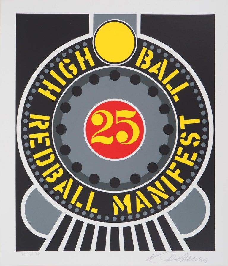 Robert Indiana Abstract Print - Highball on the Redball Manifest - Original screenprint, Handsigned -Certificate