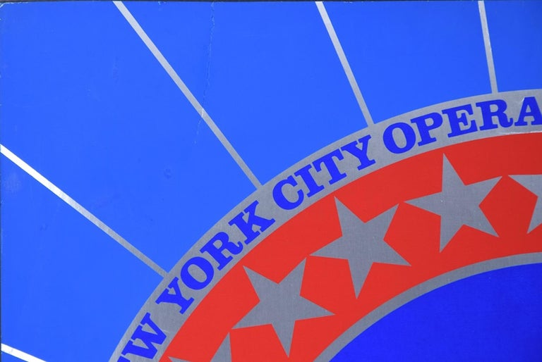 New York City Center 25th Anniversary is a beautiful screenprint in colors and metallic silver on paper, realized by the American artist Robert Indiana (New Castle, 1928 - Vinalhaven, Maine, 2018) and printed by List Art Poster in 1968.  Hand-signed