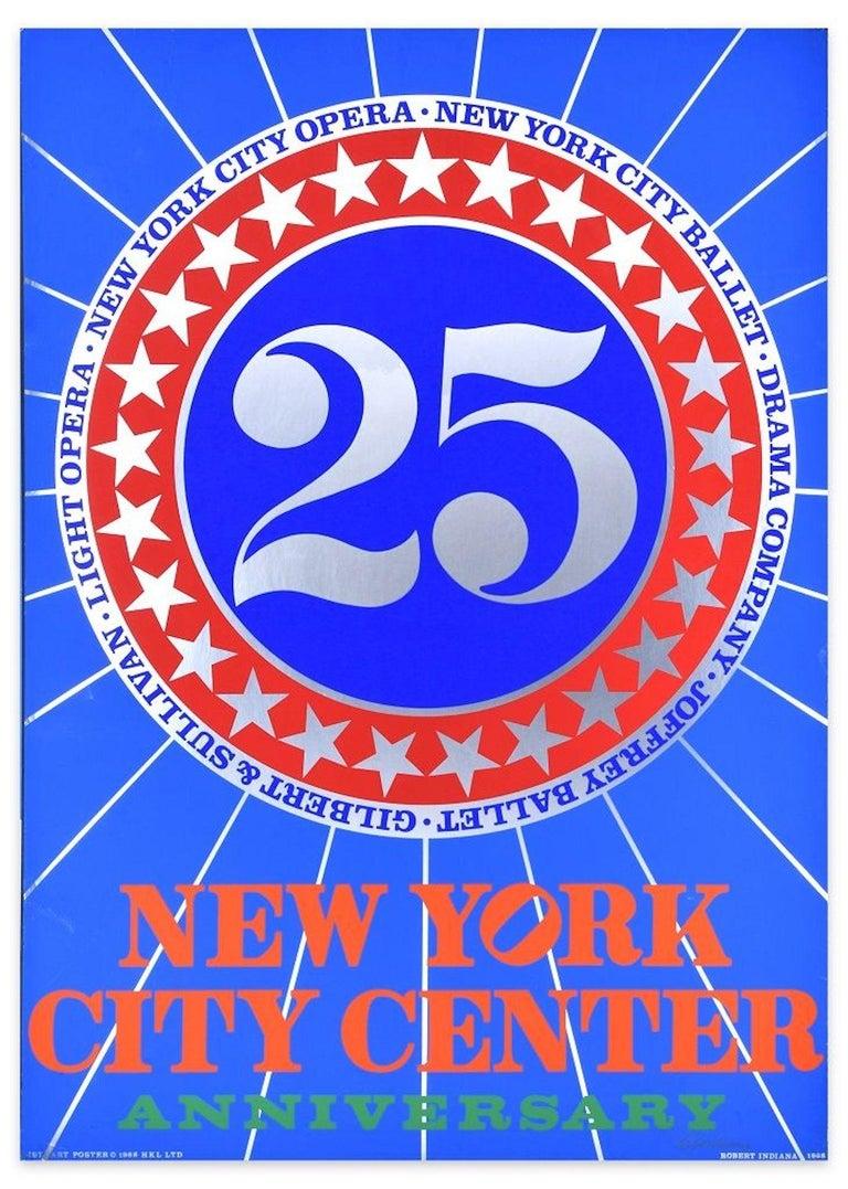 Robert Indiana Figurative Print - New York City Center 25th Anniversary - Original Screen Print Hand Signed - 1968