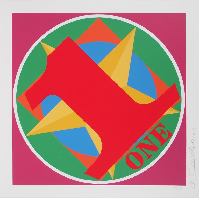 Robert Indiana Abstract Print - One Indiana Square - Original screenprint, Handsigned - Certificate