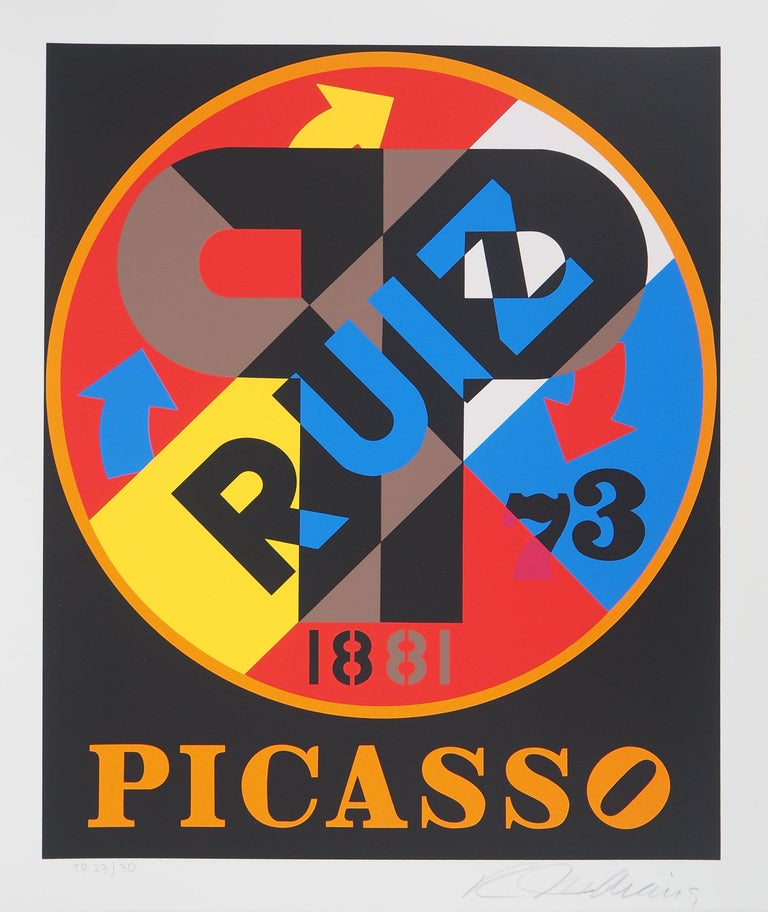 Robert Indiana Abstract Print - Picasso - Original screenprint, Handsigned - Certificate