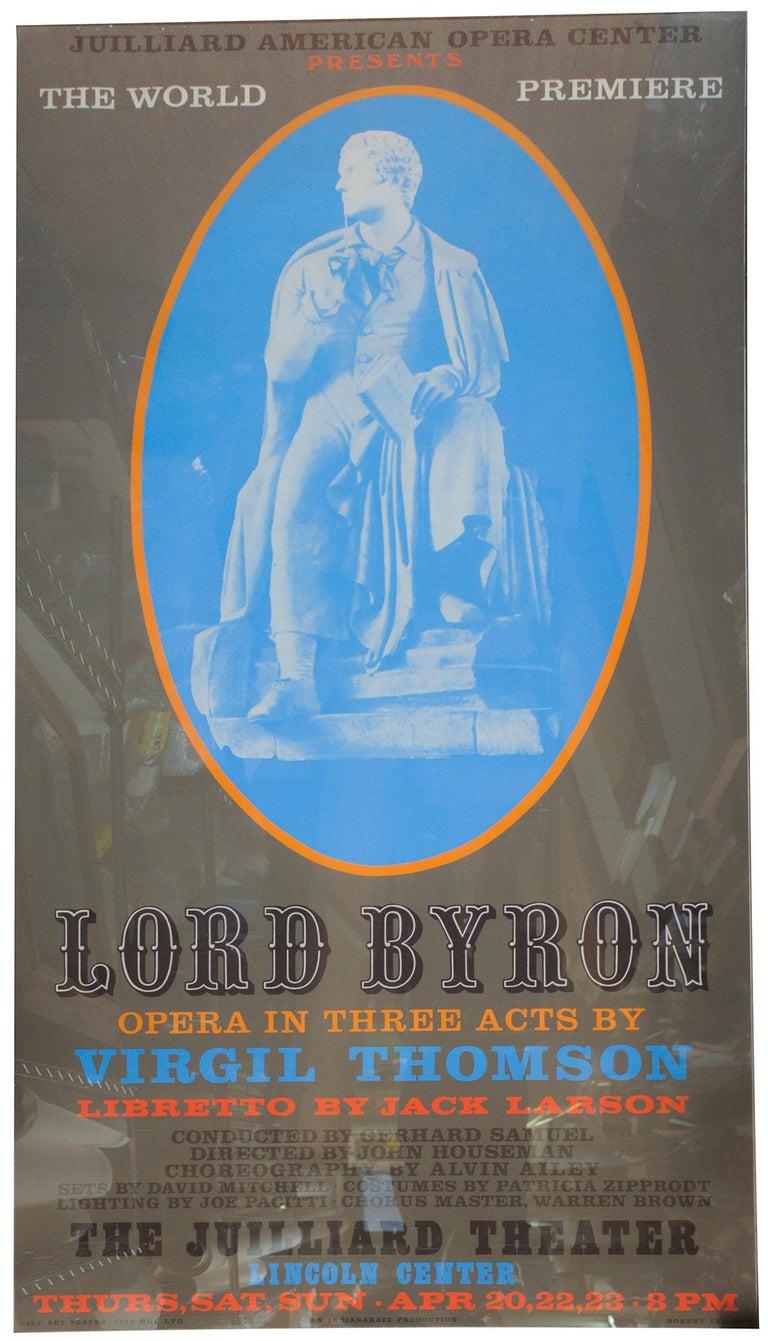 "Robert Indiana-Lord Byron-80.5"" x 40""-Serigraph-1972-Pop Art-Brown, Blue - Print by Robert Indiana"
