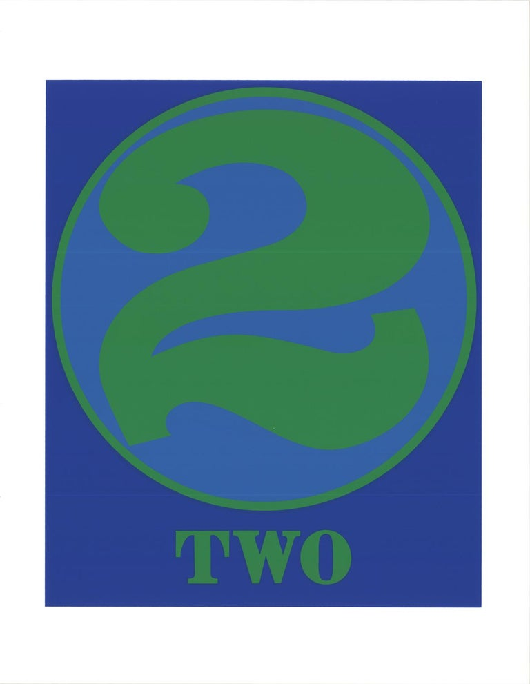 """Robert Indiana-Number Two Green and Blue-22"""" x 17""""-Serigraph-1997-Pop Art-Blue - Print by Robert Indiana"""