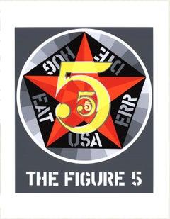 "Robert Indiana-The Figure Five-22"" x 17""-Serigraph-1997-Pop Art-Gray, Red"