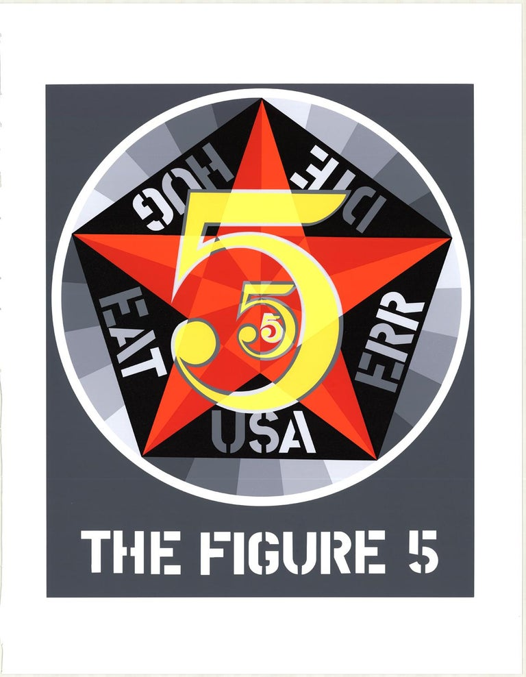 "Robert Indiana-The Figure Five-22"" x 17""-Serigraph-1997-Pop Art-Gray, Red - Print by Robert Indiana"