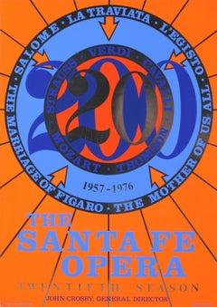 "Robert Indiana-The Santa Fe Opera-31"" x 22""-Serigraph-1976-Pop Art-Blue, Orange"