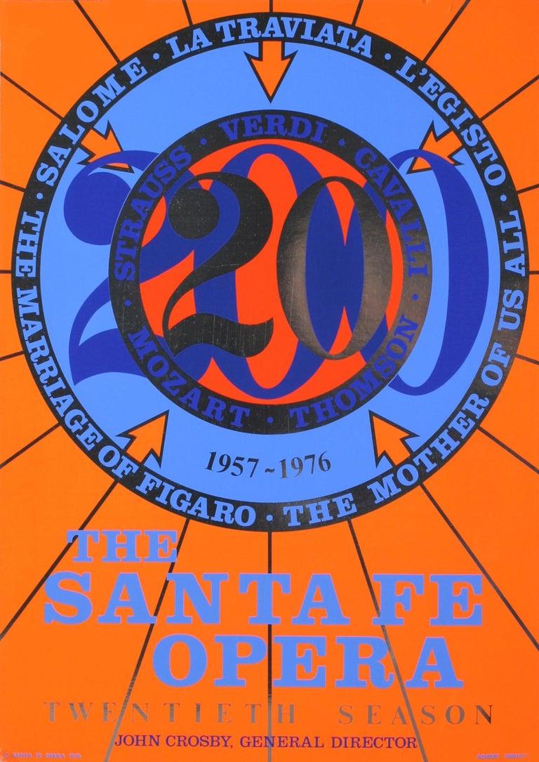 "Robert Indiana-The Santa Fe Opera-31"" x 22""-Serigraph-1976-Pop Art-Blue, Orange - Print by Robert Indiana"