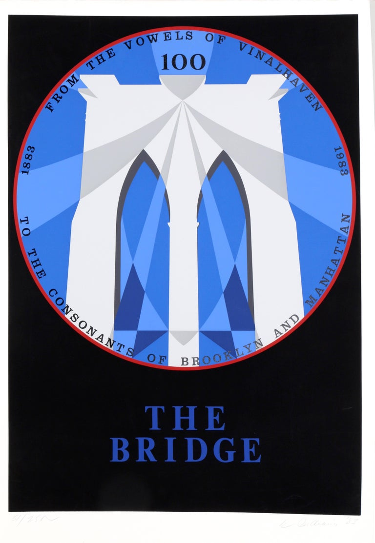 Artist: Robert Indiana, American (1928 - ) Title: The Bridge (Brooklyn Bridge) Year:1983 Medium: Serigraph on BFK Rives, signed and numbered in pencil Edition: 51/250 Image Size: 32 x 23 inches Size: 35.25 x 24.75 in. (89.54 x 62.87 cm)  Printer:
