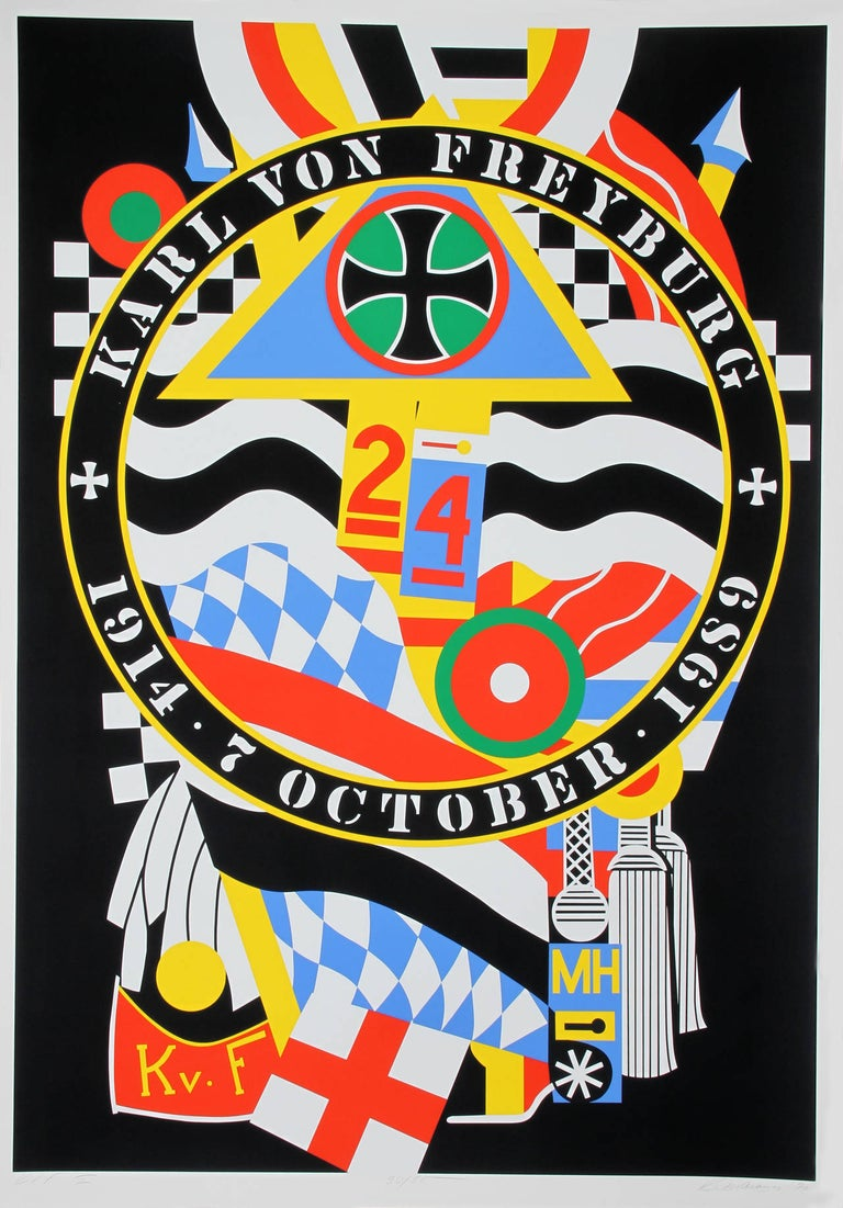 Artist: Robert Indiana Title: The Hartley Elegies: The Berlin Series - KvF I  Year: 1990 Medium: Serigraph on Saunders Watercolor paper, signed and numbered in pencil  Edition: 50  Paper Size: 77 x 53 inches  Printer: Bob Blanton, Istvan Kosbor, and