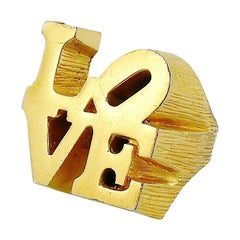 Robert Indiana Vintage Iconic Gold Toned Love Signet Ring