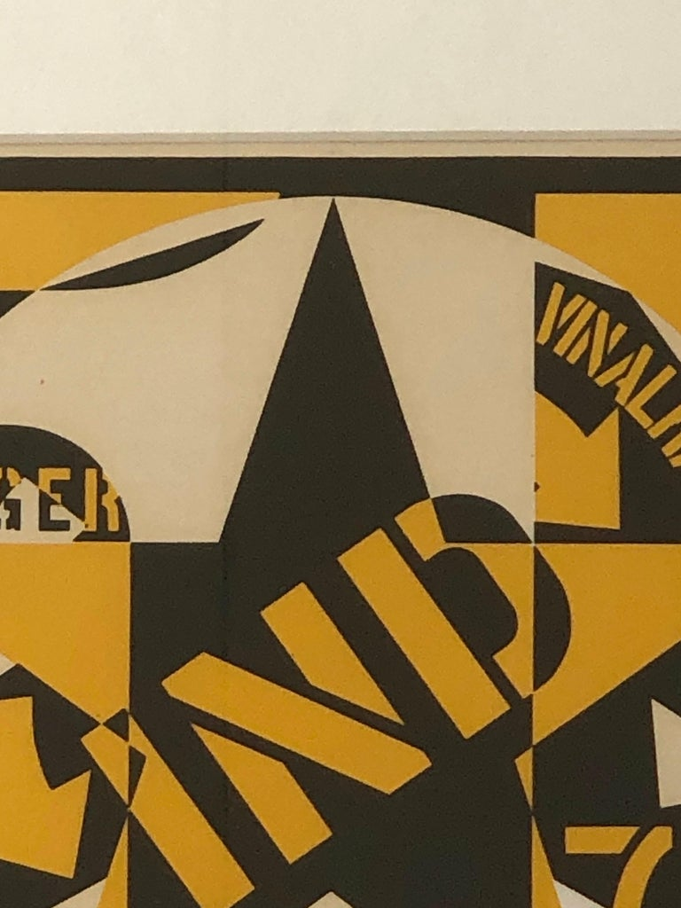 Robert Indiana Yellow, Black and White Lithograph Skid Row Autoportrait, 1973 For Sale 3