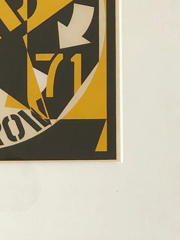 Robert Indiana Yellow, Black and White Lithograph Skid Row Autoportrait, 1973 For Sale 5