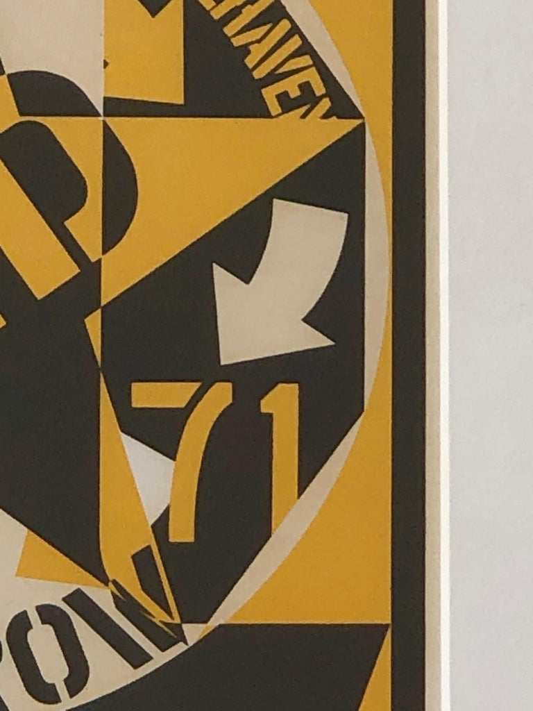 Robert Indiana Yellow, Black and White Lithograph Skid Row Autoportrait, 1973 For Sale 6