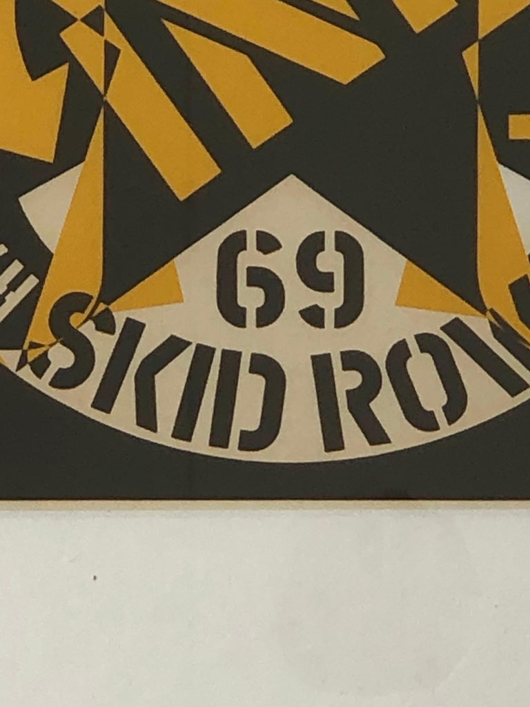 Robert Indiana Yellow, Black and White Lithograph Skid Row Autoportrait, 1973 For Sale 10