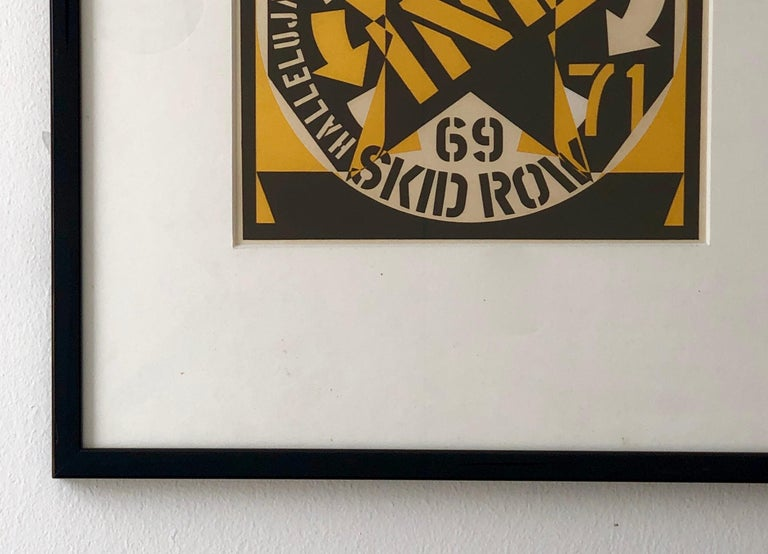 Mid-Century Modern Robert Indiana Yellow, Black and White Lithograph Skid Row Autoportrait, 1973 For Sale