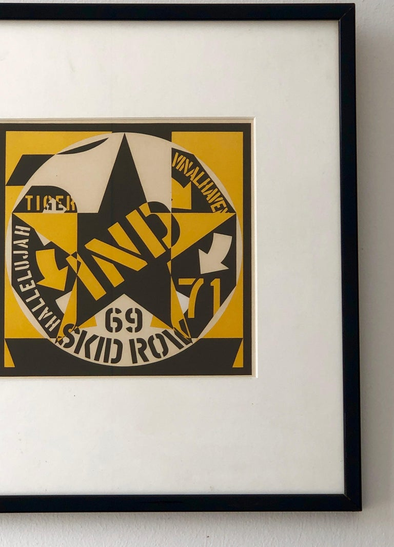 American Robert Indiana Yellow, Black and White Lithograph Skid Row Autoportrait, 1973 For Sale
