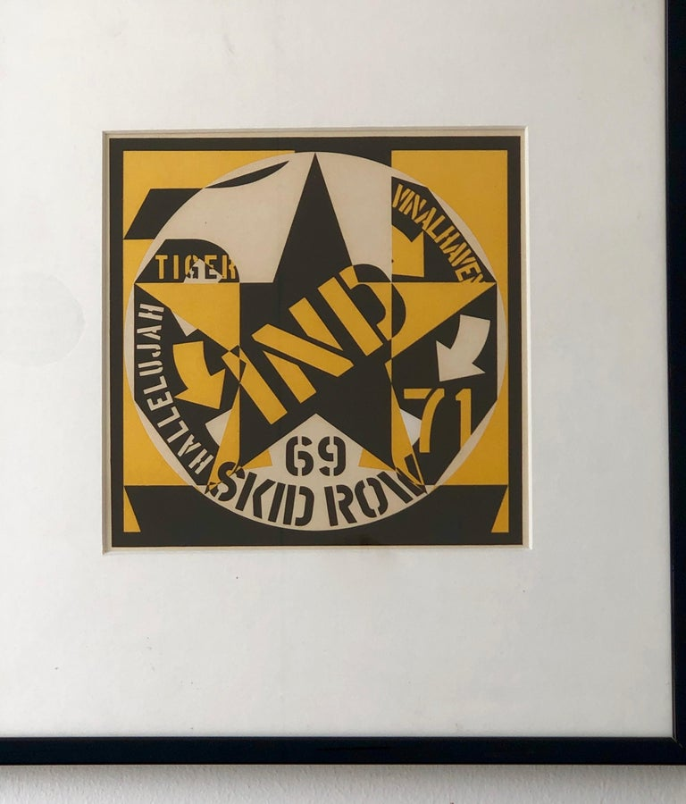 20th Century Robert Indiana Yellow, Black and White Lithograph Skid Row Autoportrait, 1973 For Sale