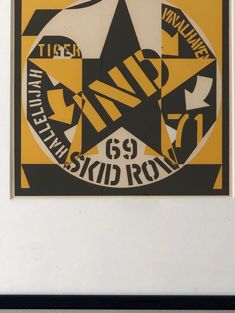Paint Robert Indiana Yellow, Black and White Lithograph Skid Row Autoportrait, 1973 For Sale