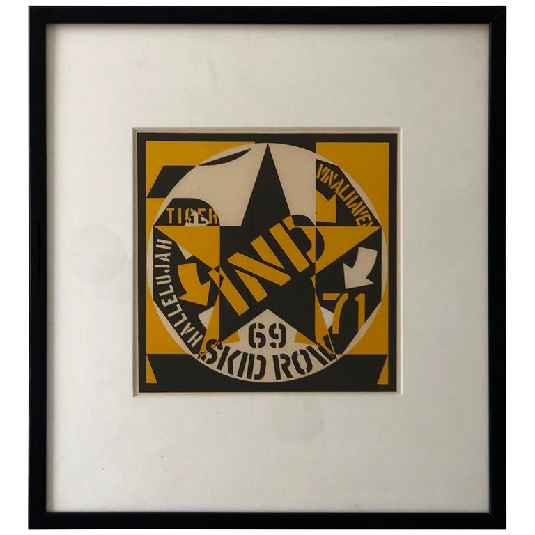 Robert Indiana Yellow, Black and White Lithograph Skid Row Autoportrait, 1973 For Sale
