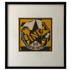 Robert Indiana Yellow, Black and White Lithograph Skid Row Autoportrait, 1973