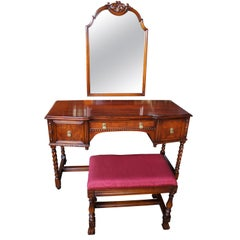 Robert Irwin Antique Jacobean Revival Walnut Dressing Table & Mirror with Bench