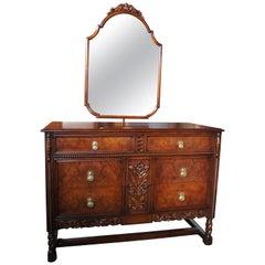 Robert Irwin Furniture Co. Antique Jacobean Revival Walnut Dresser and Mirror