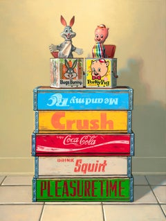 BFFS, Contemporary Still Life, Oil, Looney Tunes, Crates, Logos, Multicolored