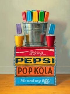 Bouquets, Contemporary Still Life, Oil, Popsicle, Crates, Logos, Multicolored