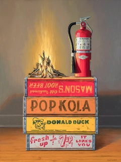 Controlled Burn, Contemporary Still Life, Oil, Fire, Crates, Trompe l'oeil