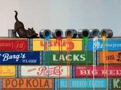 CURIOSITY, painted cans, spilled paint, still life, black cat, orange, blue
